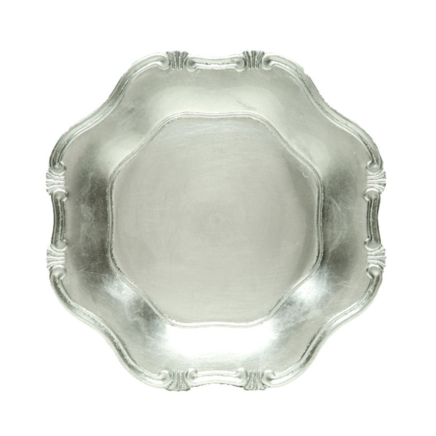 "The Jay Companies 13"" Round Silver Baroque Polypropylene Charger Plate"