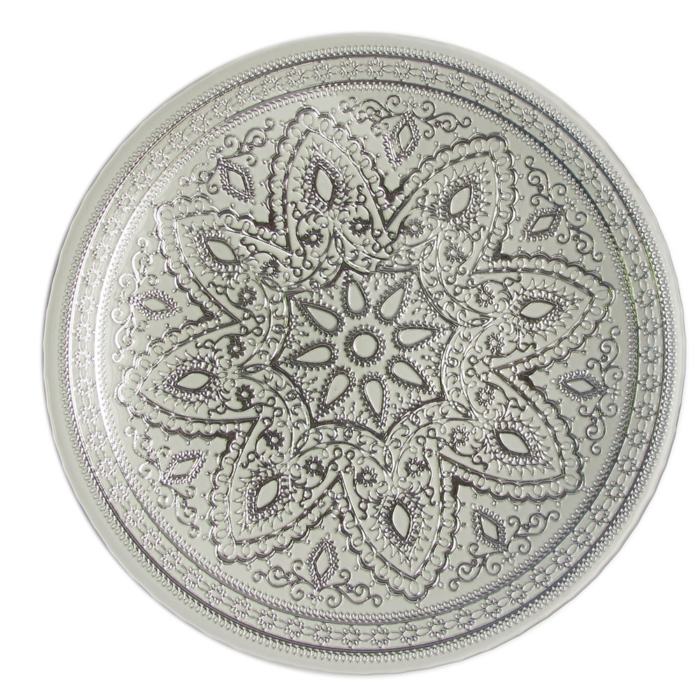 "The Jay Companies 13"" Round Divine Silver Glass Charger Plate"