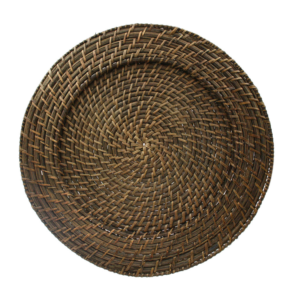 "The Jay Companies 13"" Round Brick Brown Rattan Charger Plate"