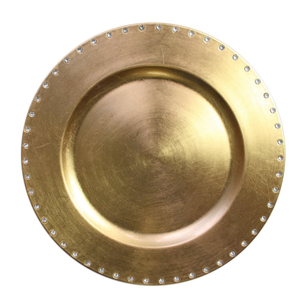 "The Jay Companies 13"" Round Gold Jeweled Rim Polypropylene Charger Plate"