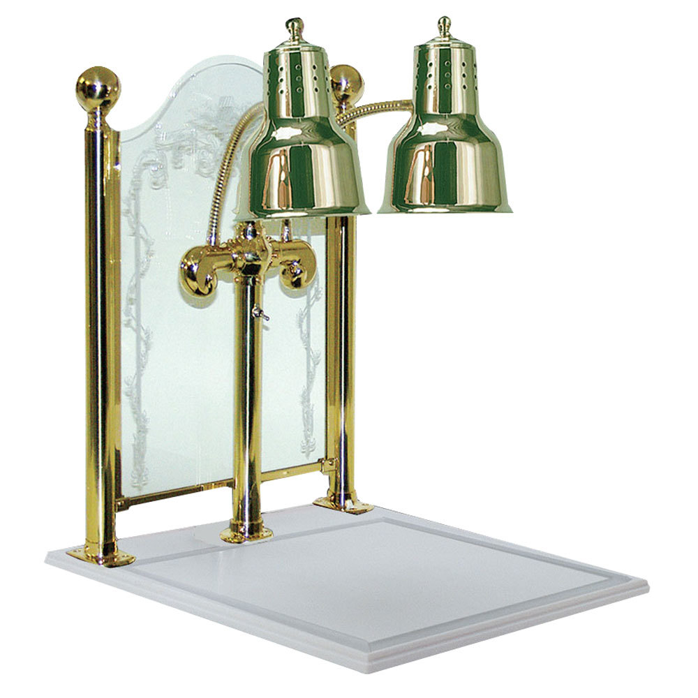 "Hanson Heat Lamps DLM/CC/WB/BR Dual Bulb 20"" x 24"" Brass Carving Display with White Solid Surface Base and Sneeze Guard"