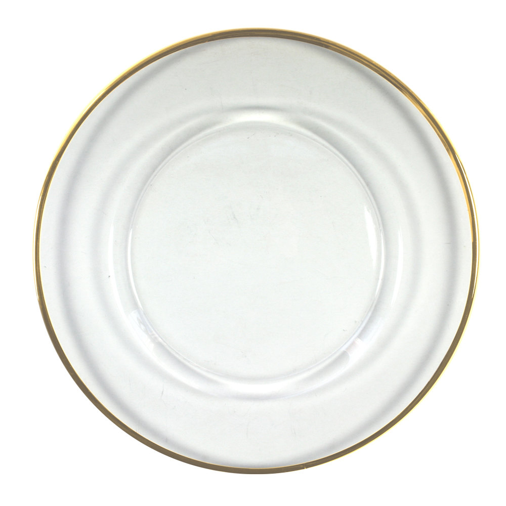"The Jay Companies 13"" Round Gold Rim Glass Charger Plate"