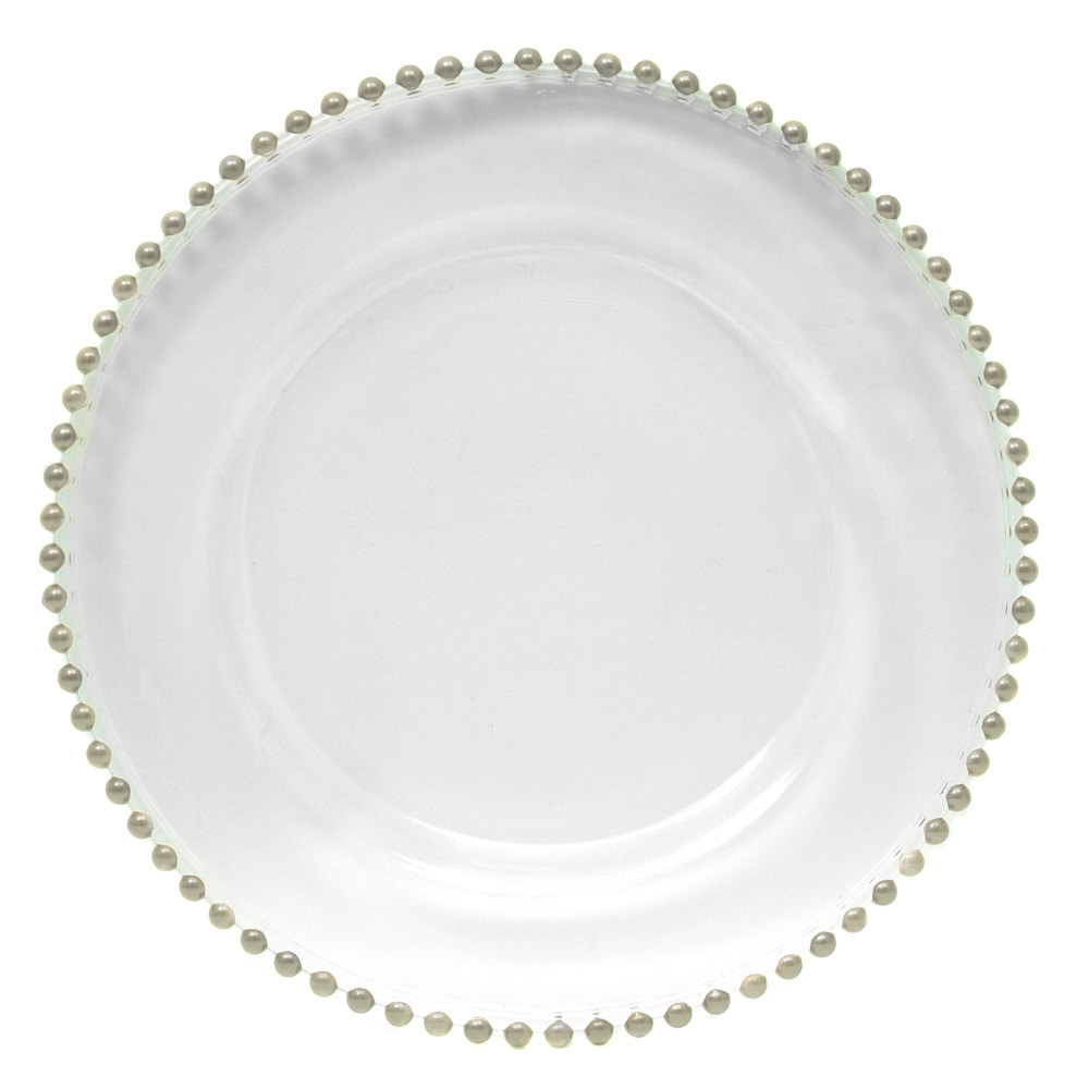 the jay companies 13 round silver beaded glass charger plate. Black Bedroom Furniture Sets. Home Design Ideas