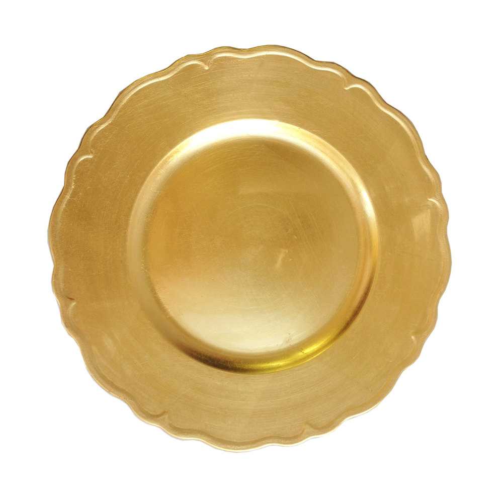 "The Jay Companies 13"" Round Gold Regency Polypropylene Charger Plate"