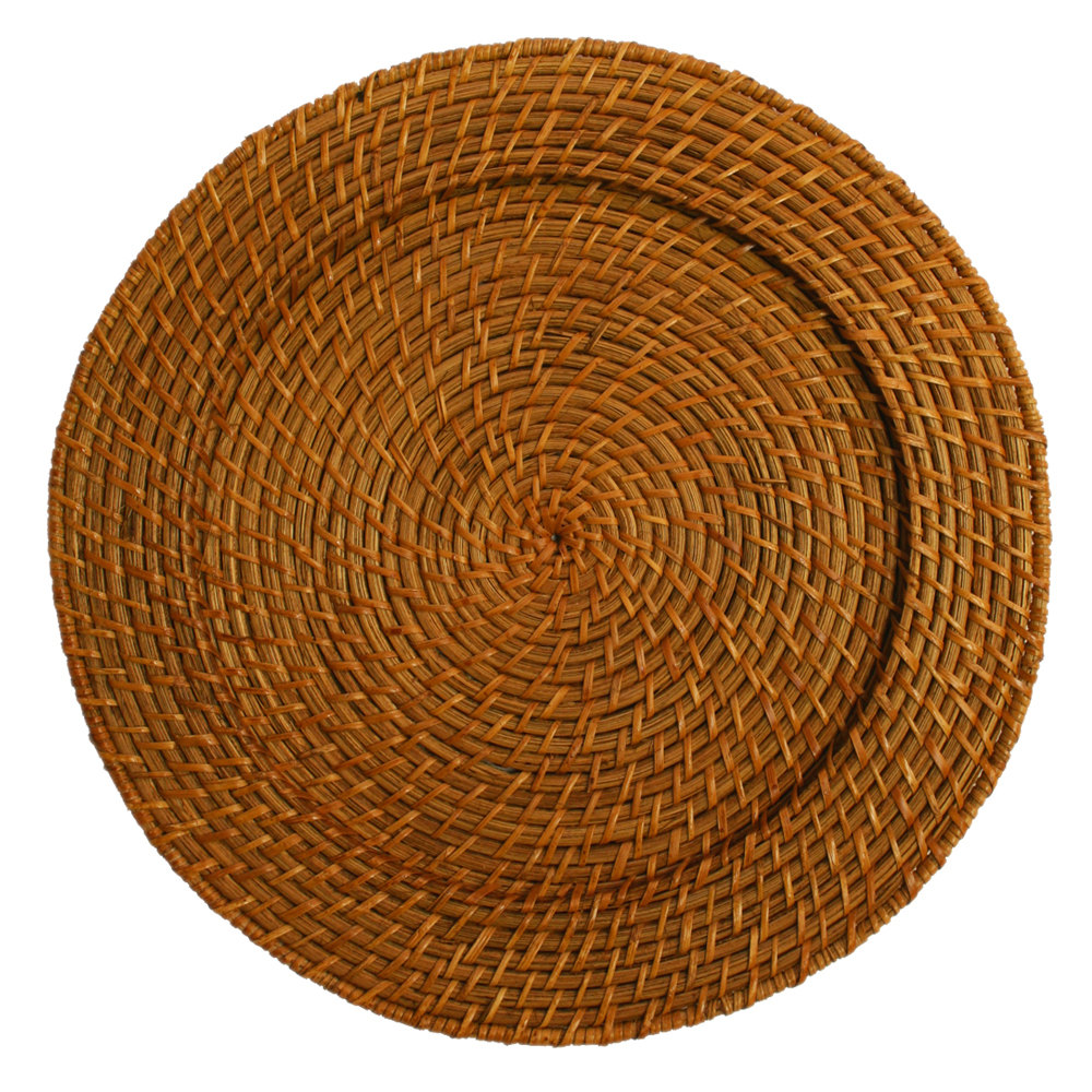 The Jay Companies 13 Quot Round Honey Rattan Charger Plate