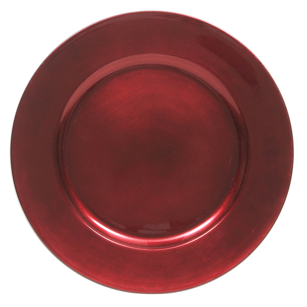 "The Jay Companies 13"" Round Red Polypropylene Charger Plate"