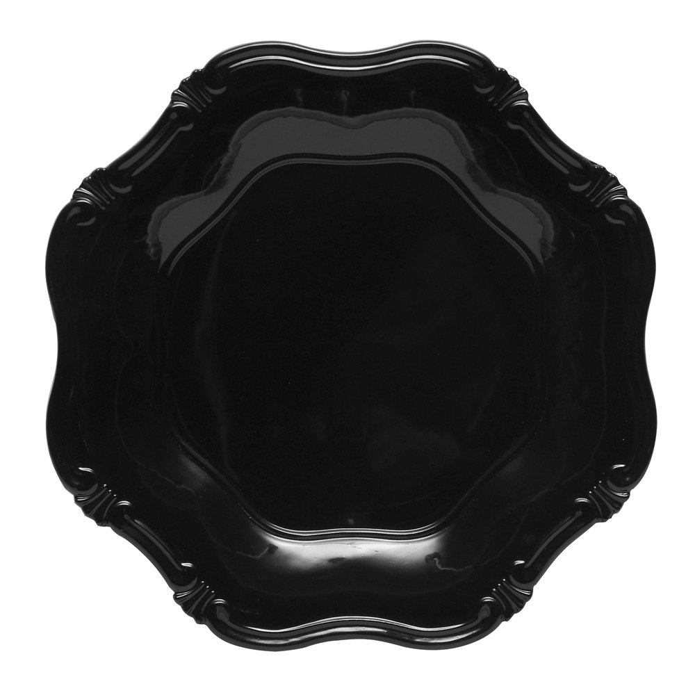 "The Jay Companies 13"" Round Black Baroque Polypropylene Charger Plate"