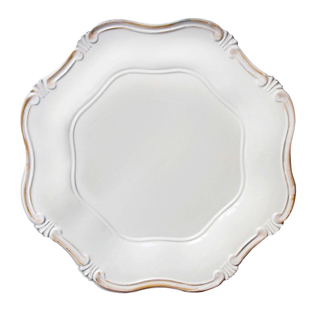"The Jay Companies 13"" Round White Baroque Polypropylene Charger Plate"