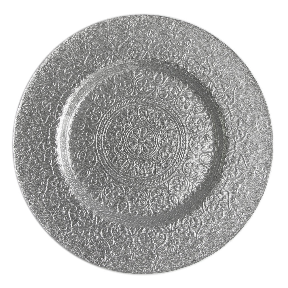 "The Jay Companies 13"" Round Alinea Silver Glass Charger Plate"