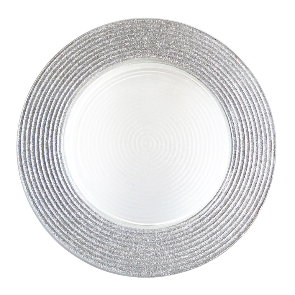 "The Jay Companies 12"" Round Silver Stripe Rim Glass Charger Plate"