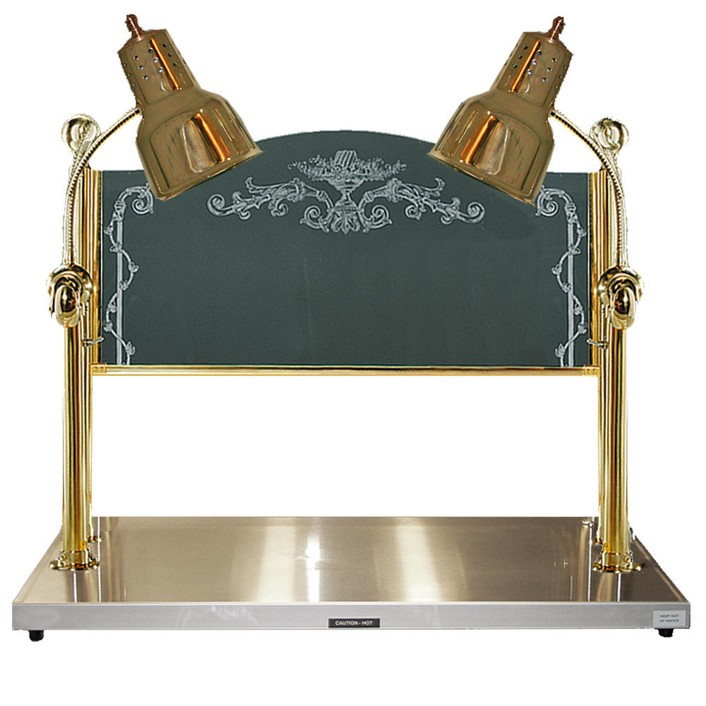"Hanson Brass Inc. 220 Volts Hanson Brass CD/HB/BR 2036 Two Lamp 20"" x 36"" Brass Carving Station with Heated Stainless Steel Base and Sneeze Guard at Sears.com"