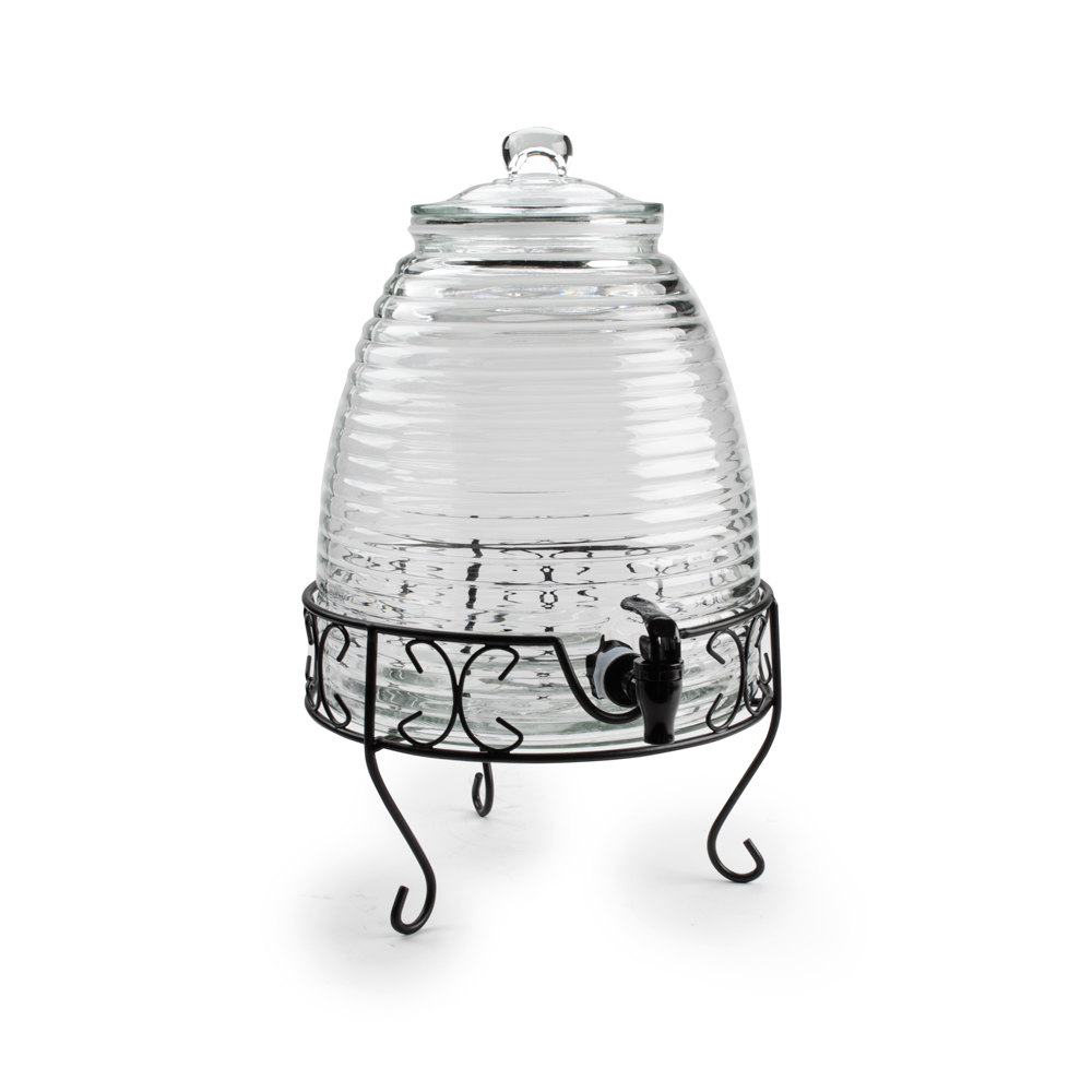 core 2 4 gallon glass beverage dispenser with metal stand 12 x 10 1 2 x 19 1 2. Black Bedroom Furniture Sets. Home Design Ideas