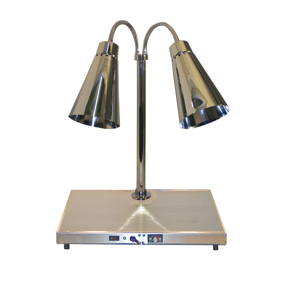 "Hanson Heat Lamps DLM/HB/900/ST2024 Streamline Style Dual Bulb 20"" x 24"" Brass Carving Station with 900 Series Shades and Heated Base"