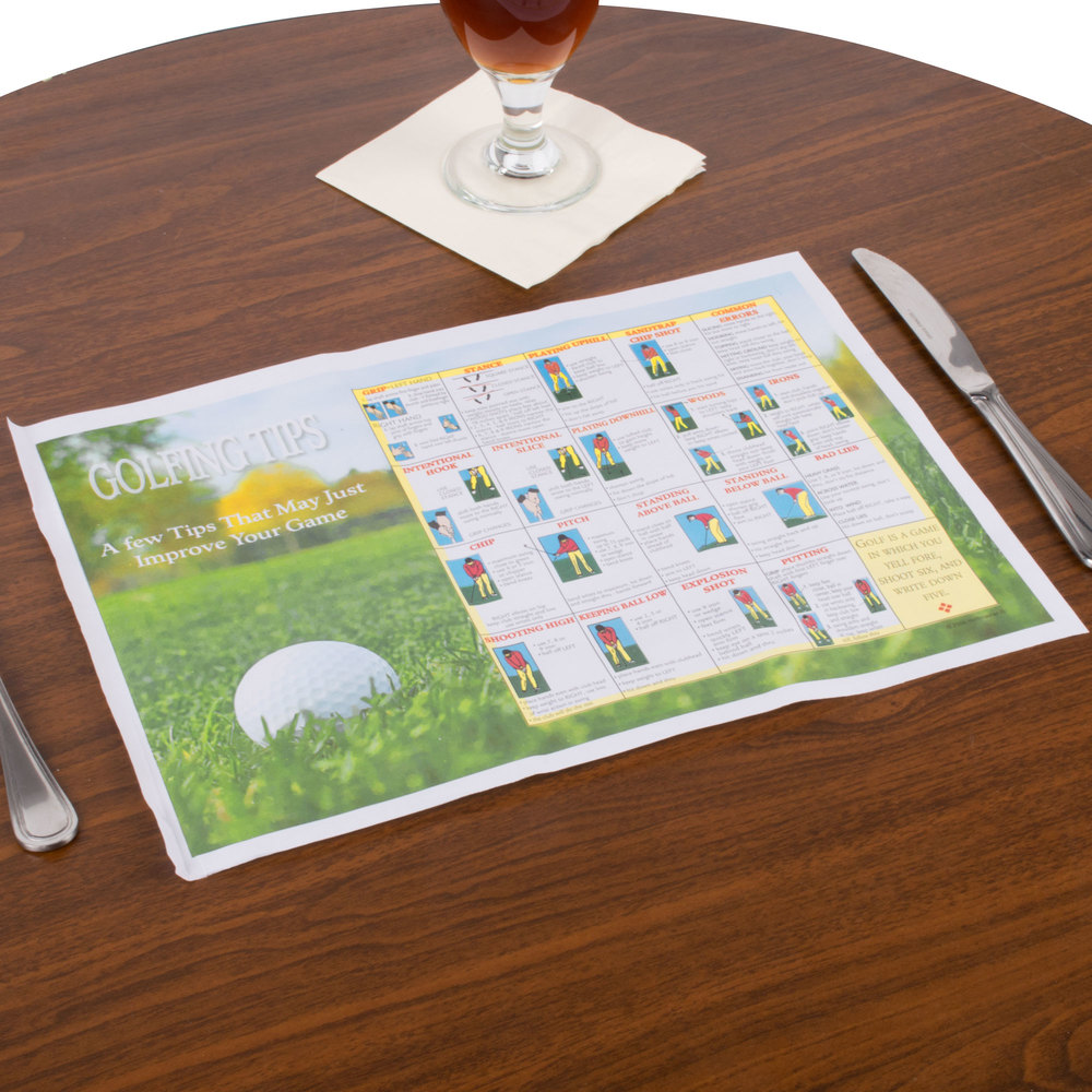 "Hoffmaster 310630 10"" x 14"" Golf Design Paper Placemat - 1000/Case"