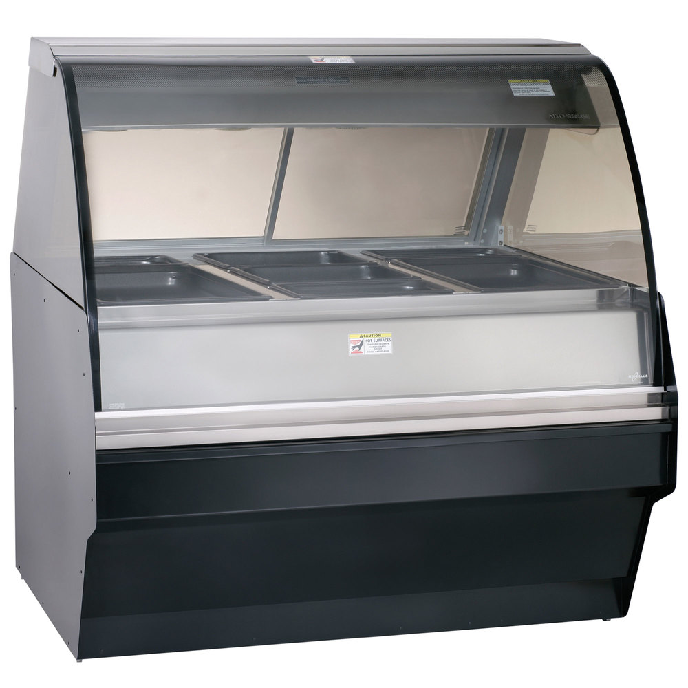 Alto-Shaam TY2SYS-48/P SS Stainless Steel Heated Display Case with Curved Glass and Base - Self Service 48""