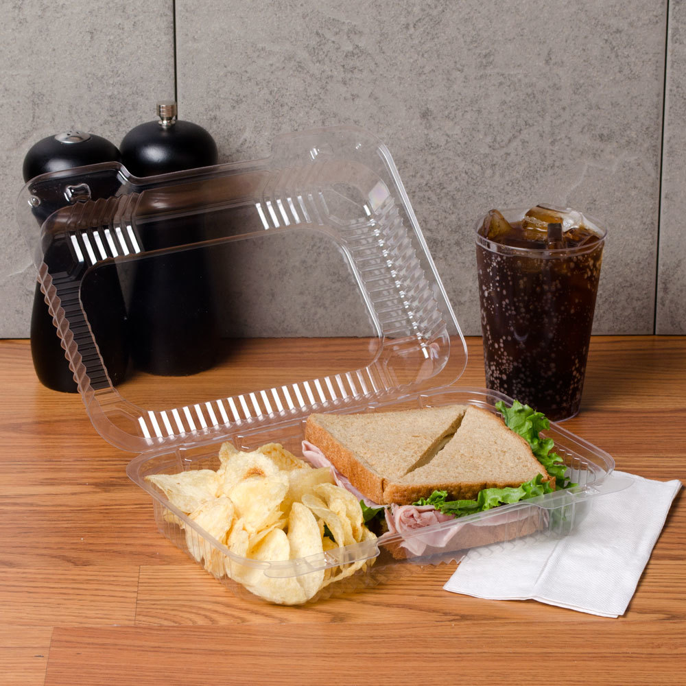 "Dart Solo C32UT1 StayLock 9 3/8"" x 6 3/4"" x 2 5/8"" Clear Hinged Plastic Medium Medium Dome Oblong Container - 250/Case"