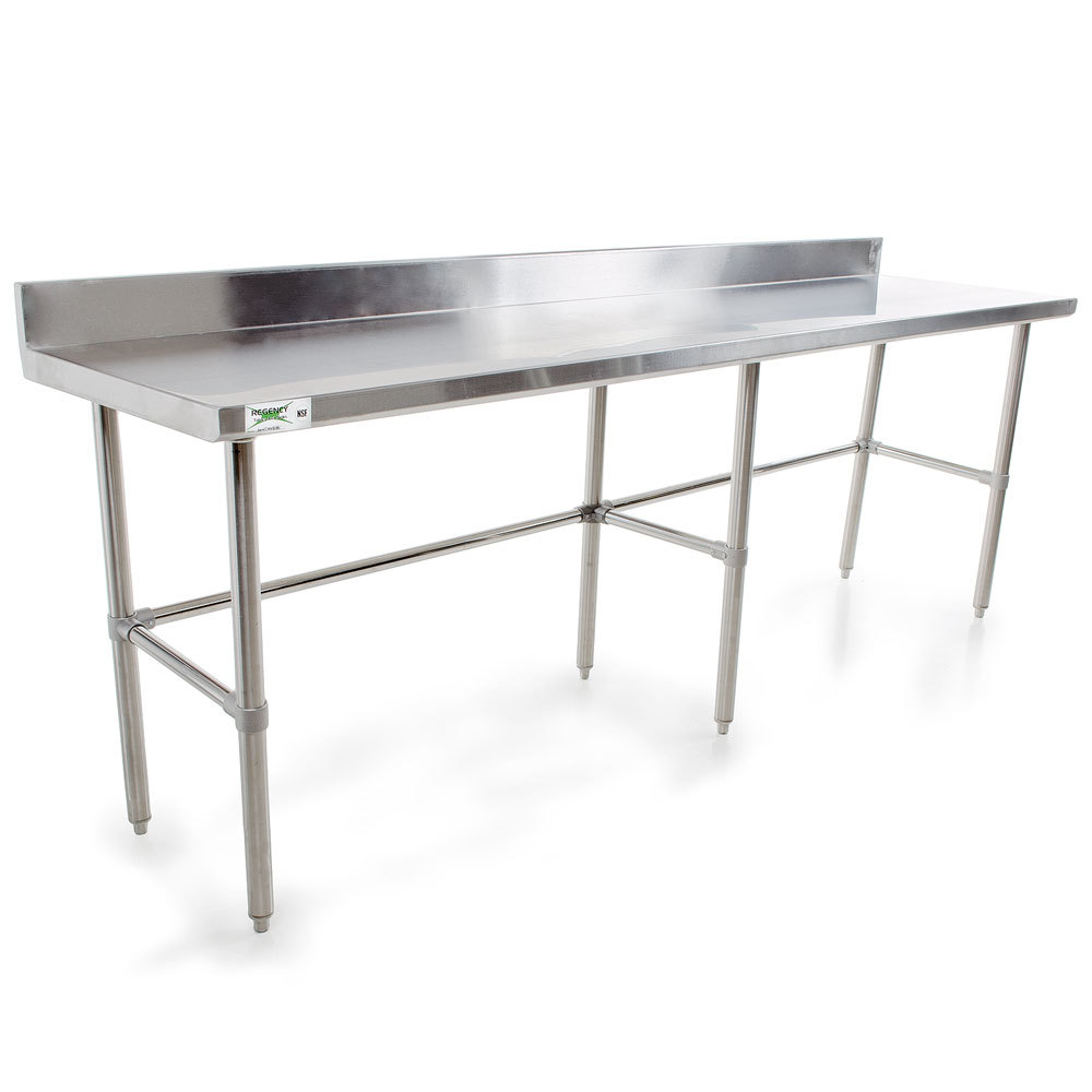 Regency 16 Gauge 24 inch x 96 inch Stainless Steel Commercial Open Base Work Table with Backsplash