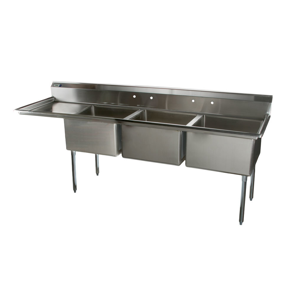 Stainless Steel Sinks With Drainboards : Sinks Regency 16 Gauge Two Compartment Stainless Steel Commercial Sink ...