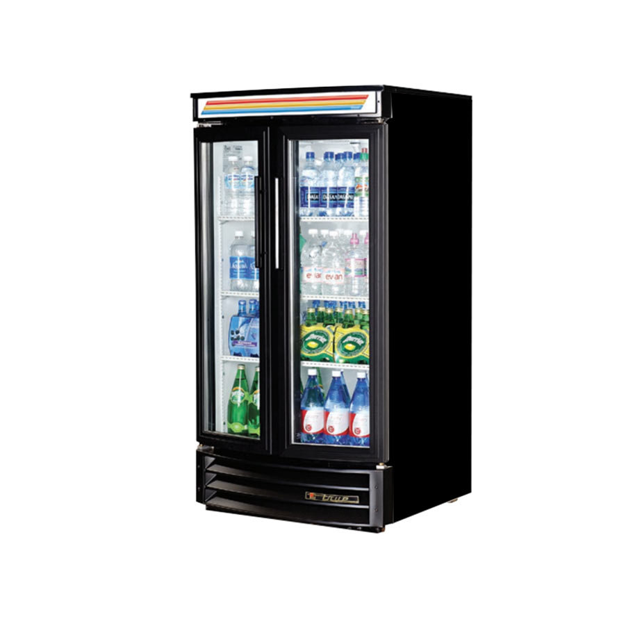 True GDM-14RF Black Refrigerated Glass Door Merchandiser with Radius Front - 14 Cu. Ft.