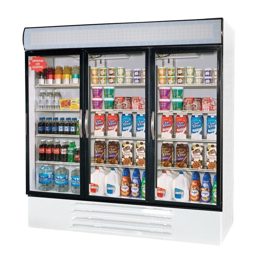 Beverage Air MMR72-1-W-LED White Marketmax Refrigerated 3 Glass Door Merchandiser with LED Lighting - 72 Cu. Ft. at Sears.com