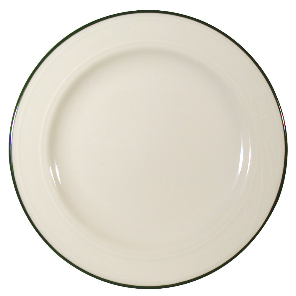 "Homer Laughlin Lydia Green 10 5/8"" Off White China Plate - 12/Case"
