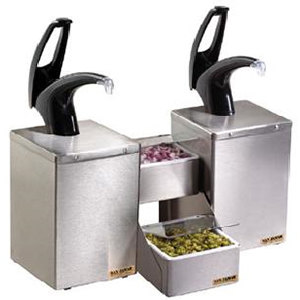 San Jamar P4826BK Dual Pump Condiment System with Stepped Trays - Black Finish