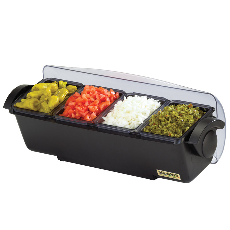 San Jamar BD4014 The Dome Bar Condiment and Garnish Tray - 3 Quart Capacity