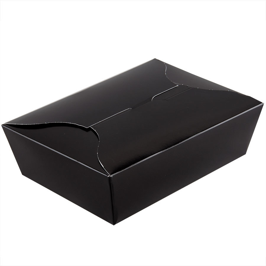 Microwavable Bio-Pak Black Paper #3 Take Out Carton 8 inch x 6 inch x 2 1/2 inch - 200 / Case