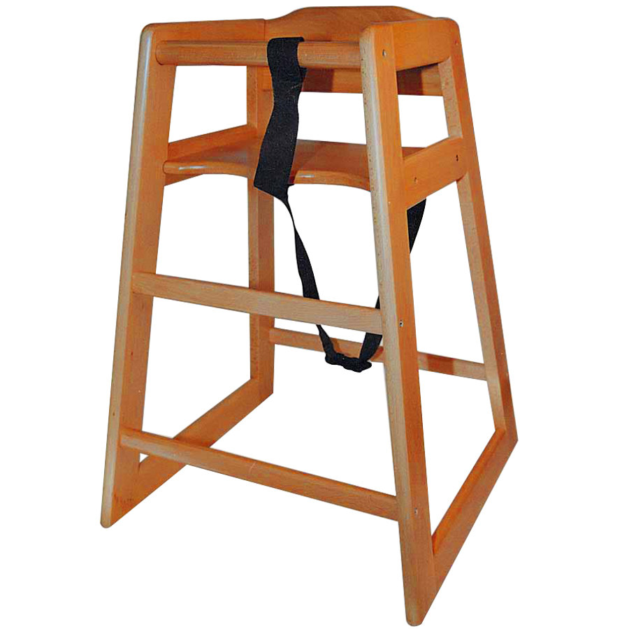 Stacking Assembled Restaurant Hardwood High Chair with Walnut Finish