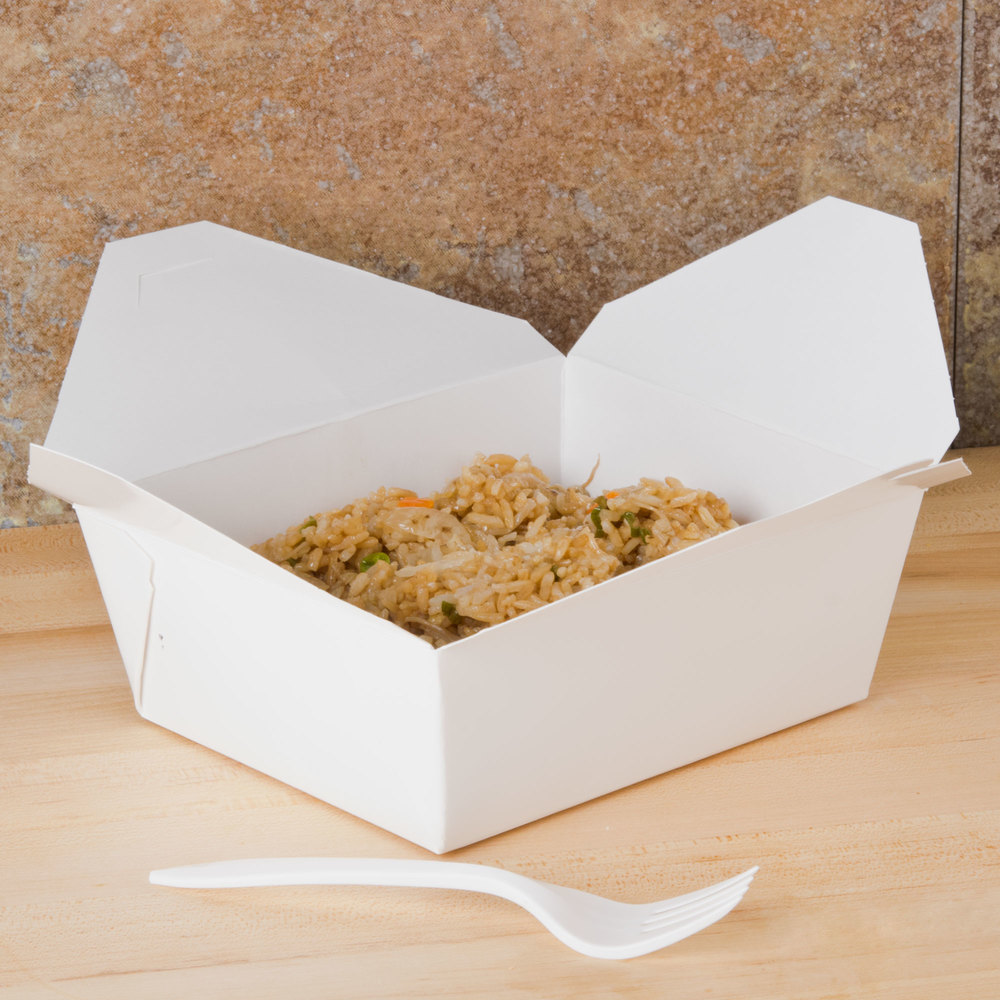 "Southern Champion 778 6"" x 5"" x 3"" ChampPak Retro White Paper #8 Take-Out Container - 50/Pack"