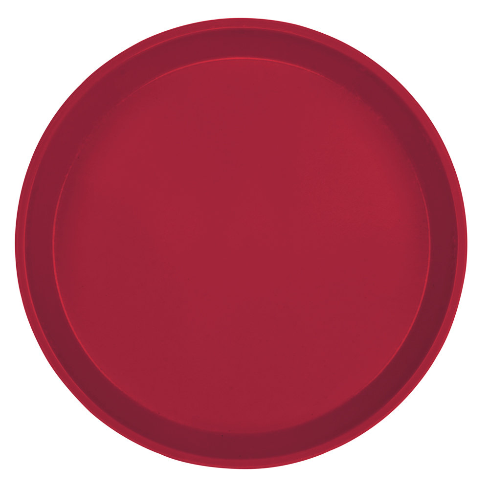 "Cambro 1550505 16"" Low Profile Round Cherry Red Fiberglass Camtray - 12/Case"