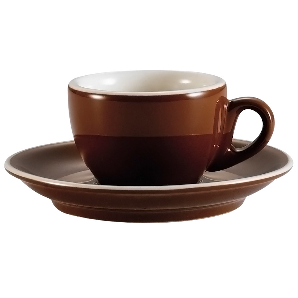 "CAC CFB-35 Venice 3.5 oz. Brown Espresso Cup with 5"" Saucer - 36/Case"