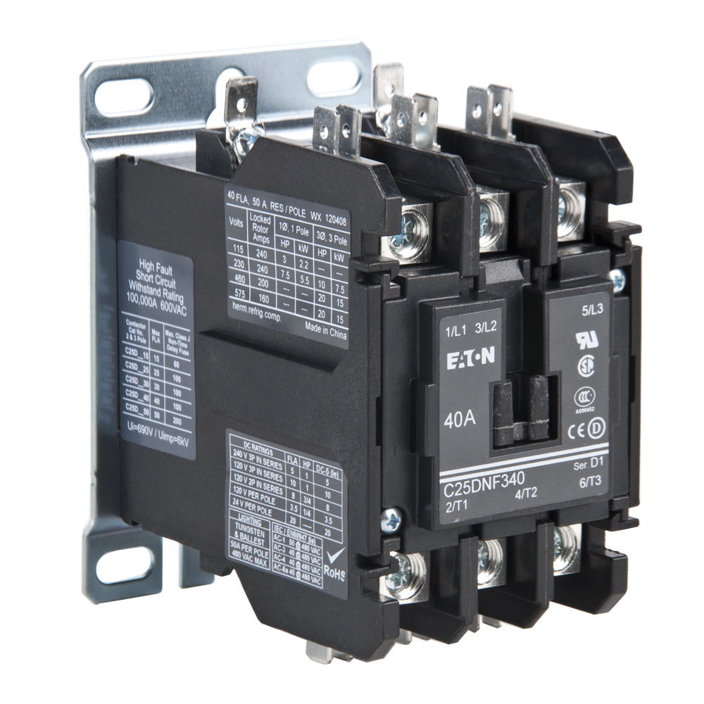 replacement non-reversing contactor - 40a, 208/240v, 3 poles 120 volt contactor wiring contactor wiring 208 #5
