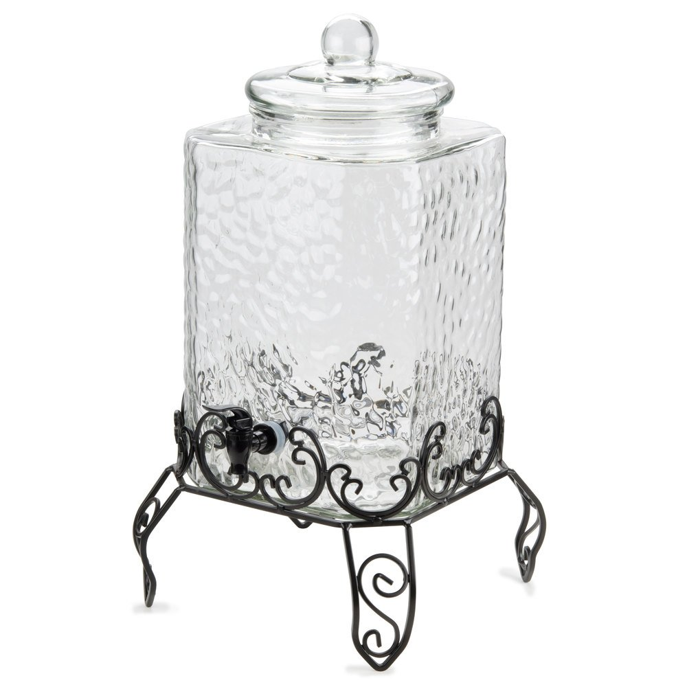 Core 5 Gallon Glass Beverage Dispenser With Metal Stand