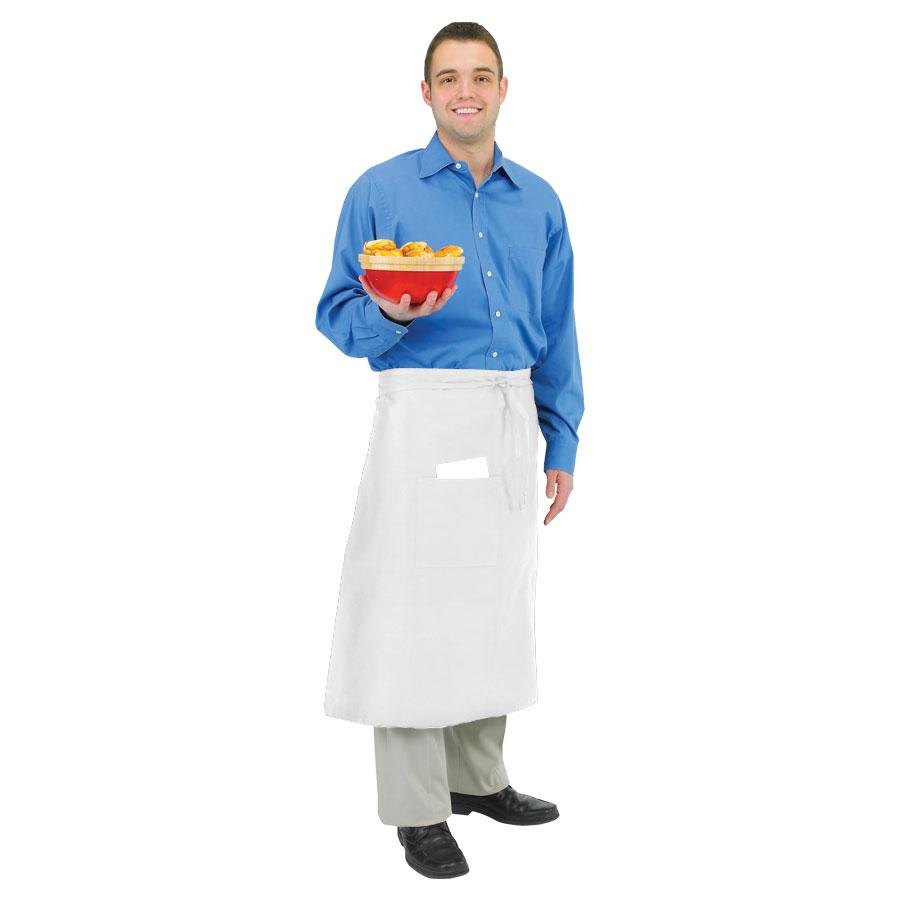 Chef Revival 607BA2-WH Long White Crew Bistro Apron with Two Pockets – 28 inch x 34 inch