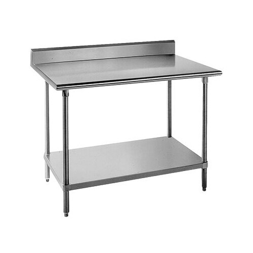 "Advance Tabco KMSLAG-247-X Heavy Duty Stainless Steel Work Table with 5"" Backsplash and Adjustable Undershelf - 84"" x 24"" at Sears.com"