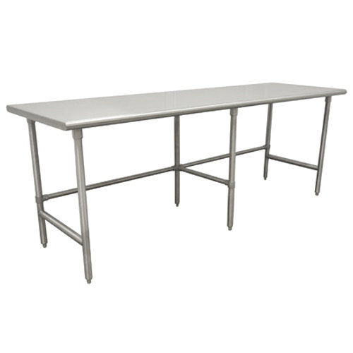 "Advance Tabco TGLG-2411 24"" x 132"" 14 Gauge Open Base Stainless Steel Commercial Work Table"