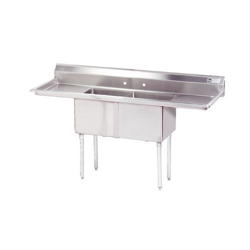 """Advance Tabco FE-2-2424-24RL-X Two Compartment Stainless Steel Commercial Sink with Two Drainboards ? 96"""" at Sears.com"""