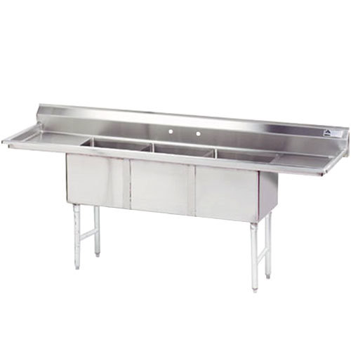 Triple Sink Commercial : ... Three Compartment Stainless Steel Commercial Sink with Two Drainboards