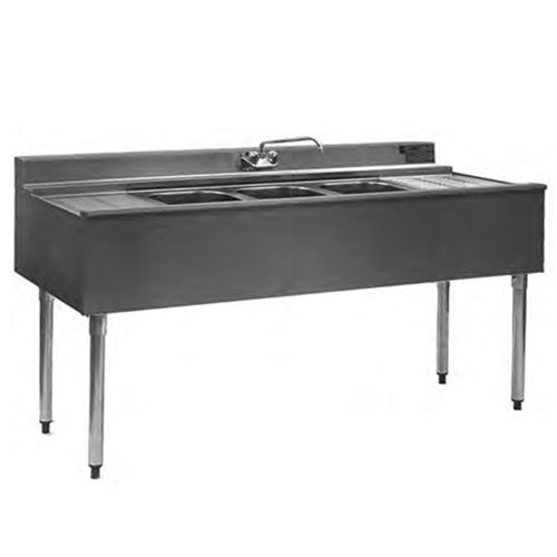 "Eagle Group B5C-22 60"" Underbar Sink with Three Compartments and Two Drainboards"