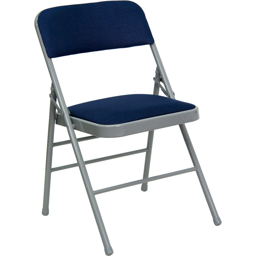 Navy Blue Metal Folding Chair With 1 Padded Fabric Seat