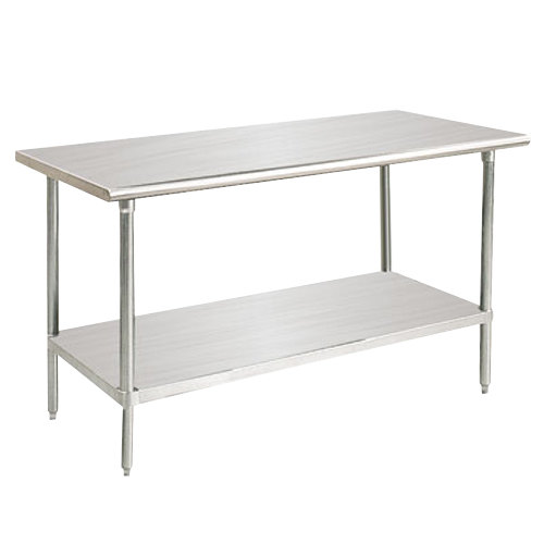 "Advance Tabco SAG-242 24"" x 24"" 16 Gauge Stainless Steel Commercial Work Table with Undershelf"