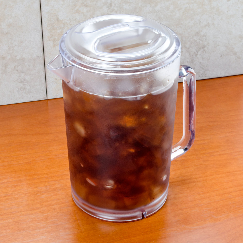 GET P-3064-1-CL 64 oz. Clear Textured Pitcher with Lid - 12 / Case