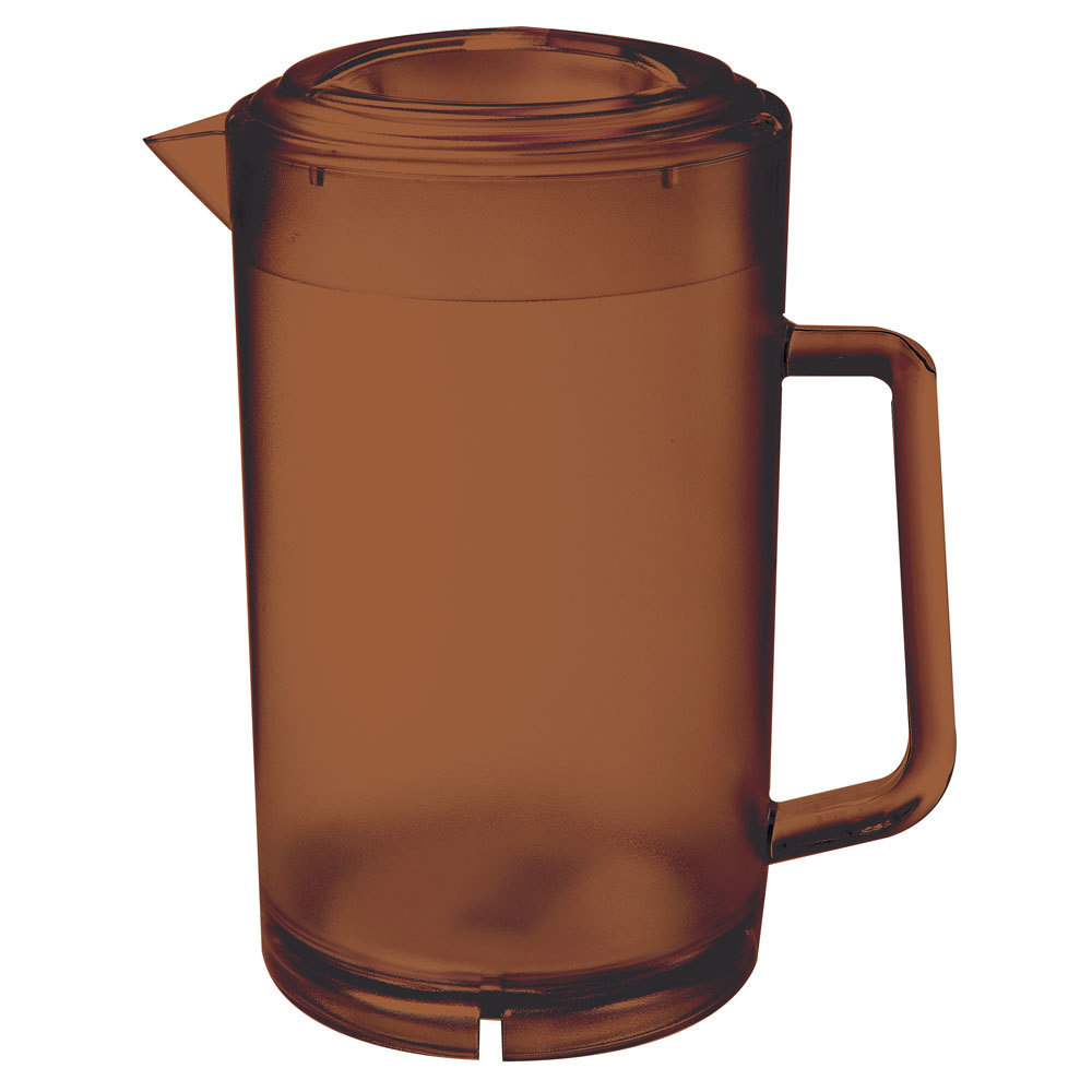 GET P-3064-1-A 64 oz. Amber Textured Pitcher with Lid - 12/Case