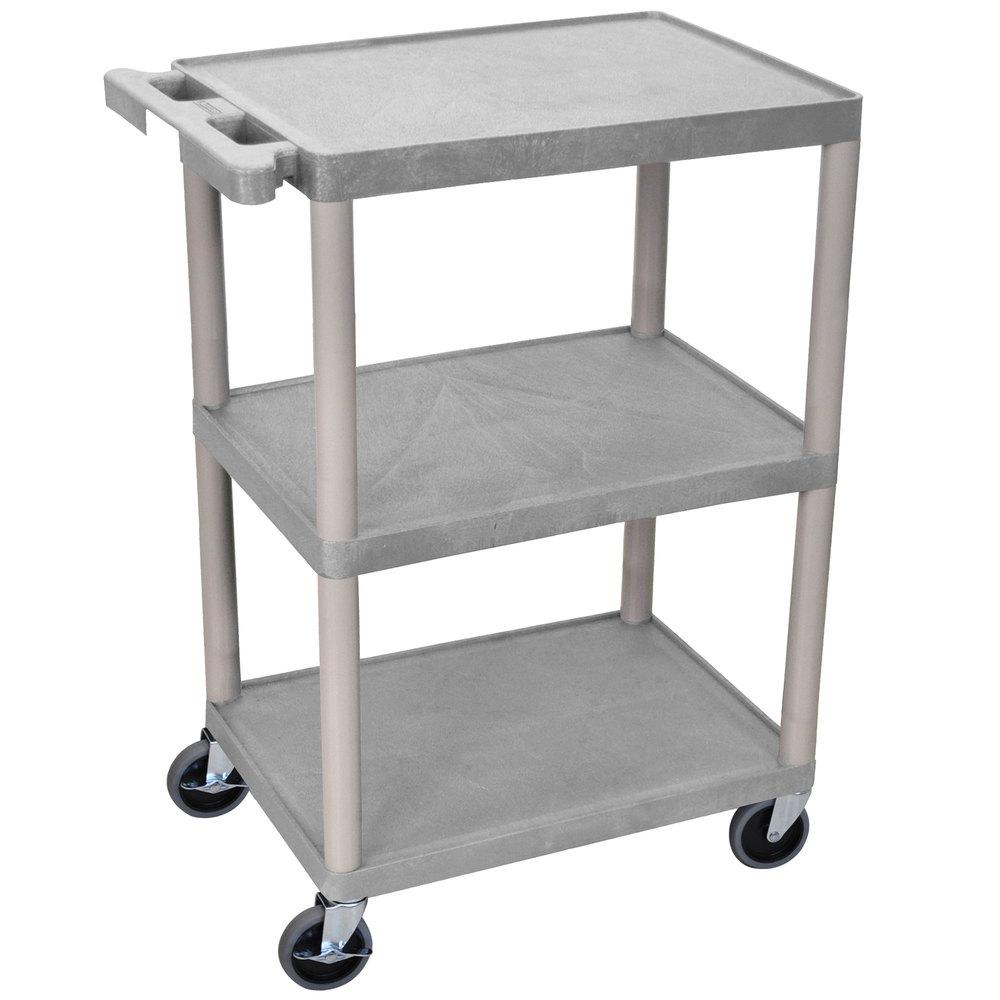 luxor he34 g gray 3 shelf utility cart 18 x 24 x 32 1 2. Black Bedroom Furniture Sets. Home Design Ideas