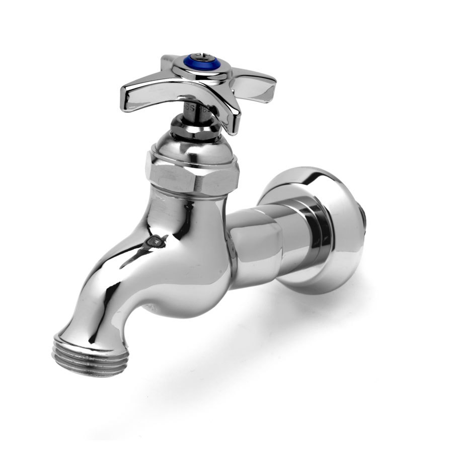 "T&S B-0718 Single Sink Faucet with 1/2"" NPT Male Inlet, 4 Arm Handle, Blue Index, and 3/4"" Garden Hose Outlet"