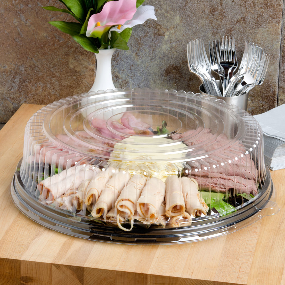 "Fineline Platter Pleasers 7610TF PET Plastic Black Thermoform 16"" Catering Tray - 25/Case"