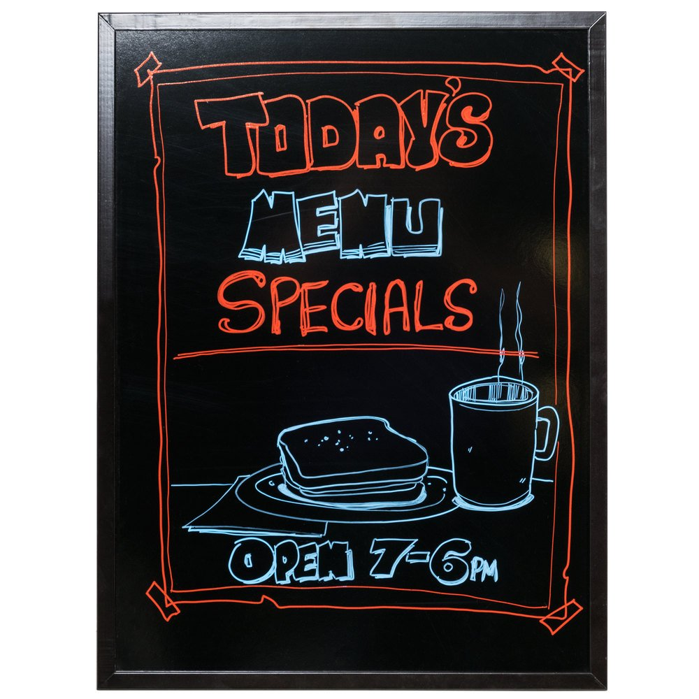 24 x 32 dark wood frame black marker board