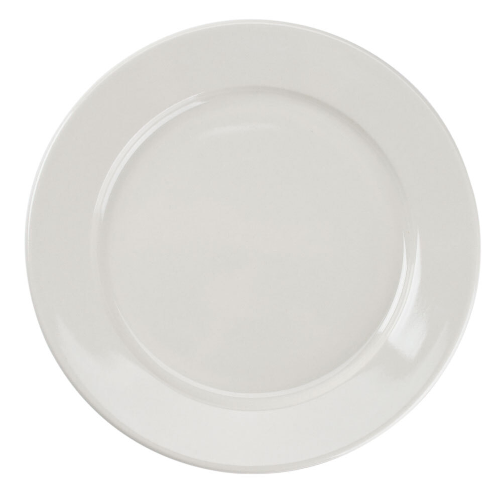 American White (Ivory / Eggshell) Wide Rim 9 inch Rolled Edge China Plate - 24 / Case