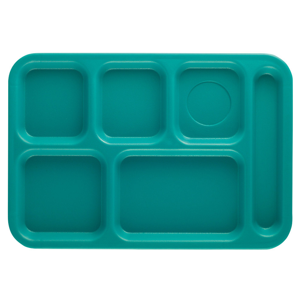 "Cambro PS1014414 Penny-Saver 10"" x 14 1/2"" Aqua 6 Compartment Serving Tray - 24/Case"
